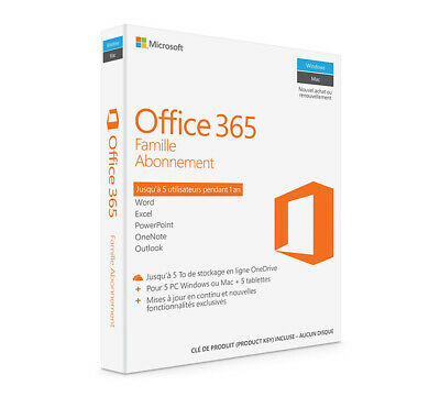 Microsoft Office 365 Famille Abonnement for 5 PCs or Macs + 5 Tablets BRAND NEW