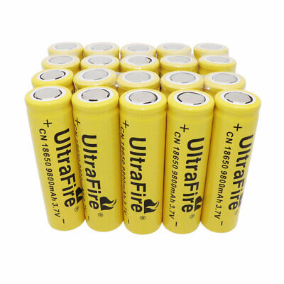20X 18650 Li-ion Battery 9800mAh 3.7V Rechargeable Flat Top Batteries for Torch