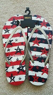 cb61261fc NEW Mixit Stars Stripes Flip Flops Silver Sparkle Red White Blue Women s 11  12