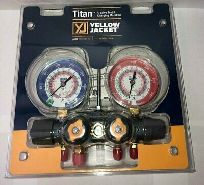 Yellow Jacket 49963 Titan™ 4-Valve Manifold Only, R-22 / 404a / 410a