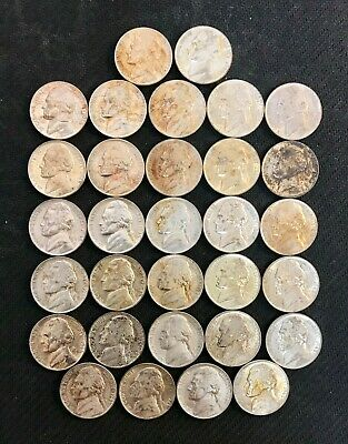 Lot Of (31) 1945-P U.s. Silver Wartime Jefferson Nickels! Au-Unc Condition ~ Nr!