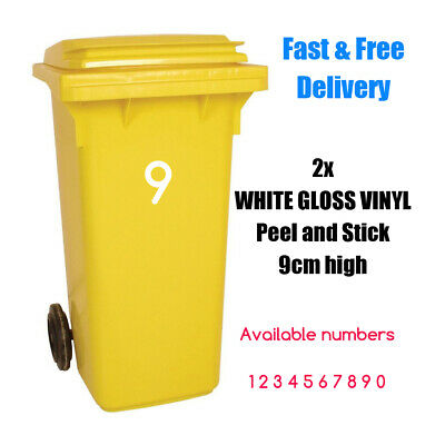 2x WHITE (9cm) Wheelie Recycling Bin Number Gloss Vinyl Stickers House Numbers