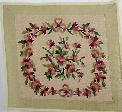 antique needlepoint floral wool tapestry chair seat cushion bois ancien rond