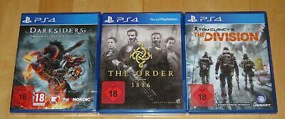 3 PS4 Spiele: Darksiders (NEU), The Order 1886, Tom Clancy's The Division