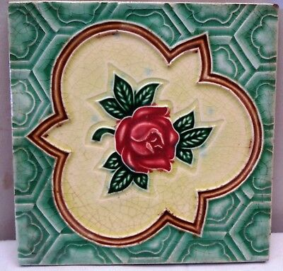 Antique Tile Majolica Art Nouveau Rose Geometric Design Ceramic Porcelain Japan