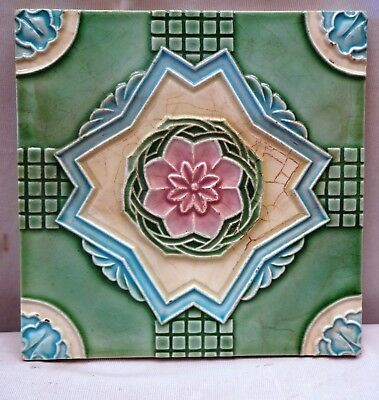 Antique Tile Majolica Art Nouveau Geometric Star Design Old Ceramic Yamada Japan