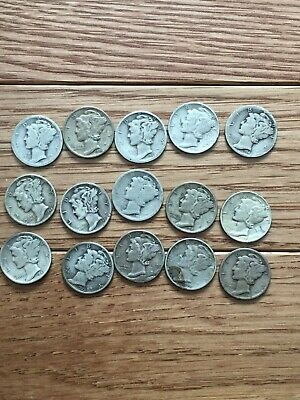 $1.50 FACE VALUE of MERCURY DIMES 90% SILVER (LOT OF 15 COINS) 1940s Dates