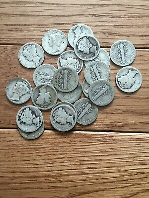 $2 FACE VALUE of MERCURY DIMES 90% SILVER (LOT OF 20COINS) Dates 1918-1930s