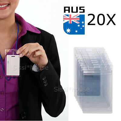 20x Clear Plastic ID CARD HOLDER POUCH PVC lanyard work BADGE Zip Lock NEW