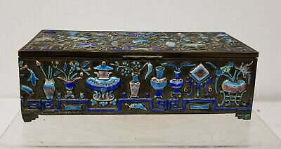 Antique Chinese Enameled Silver Plate Cigarette Holder Box Scholar's Objects
