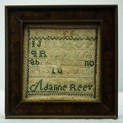 Ca. 1815 Antique Signed Band Sampler Adaline Reeve Alphabet Needlework Folk Art