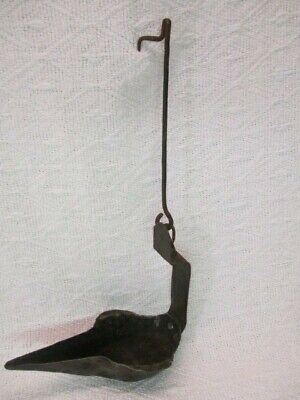 Antique 1700/1800's Forged Iron Hanging Betty Whale Oil Grease Lamp
