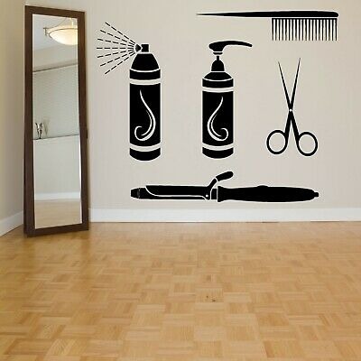 Vinyl Sticker Hair Salon Scissors Comp Barber Mural Decal Wall Art Decor ZX520