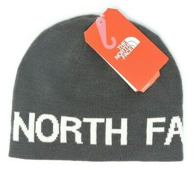 The North Face Tnf Reversible Gray Vintage White Banner Beanie Hat Mens Womens