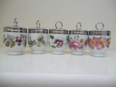 ROYAL WORCESTER ASSORTED EGG CODDLERS x5 STANDARD SIZE INC. PERSHORE