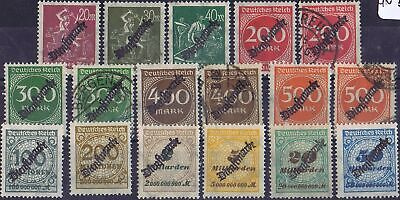 German Reich 1923 Mi 75-85, 87, 88 Official Stamps used/unused