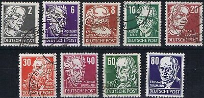 East Germany 1952-1953 Mi 327-330, 332, 335, 336, 338, 339 Personalities un/used