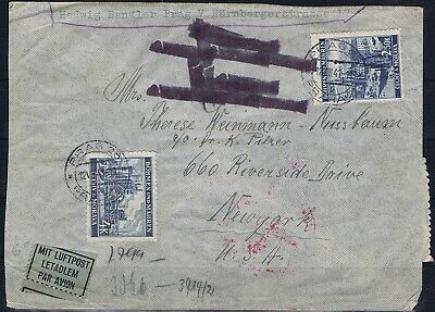 Germany 3rd Reich Bohemia/Moravia 1941 Mi 32, 34 Cover sent to New York used