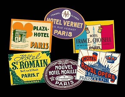 Scrapbook Hotel Luggage Labels & Baggage Tags, 6 Steam Trunk & Suitcase Decals