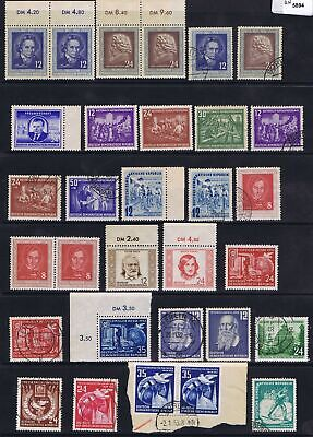 East Germany 1952 Mi various Commemorative Issues used/unused