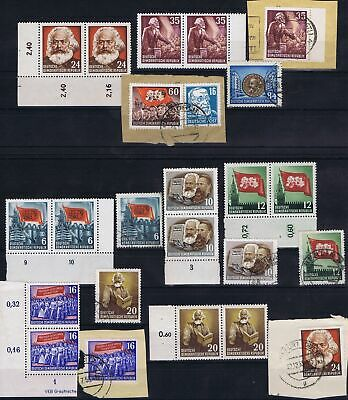 East Germany 1953 Mi 344-350, 352, 353 Karl Marx Death Anniversary used/unused