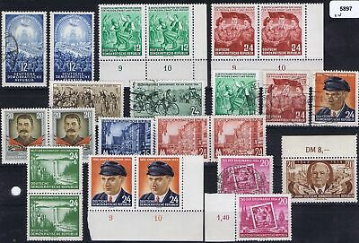 East Germany 1954 Mi 424-429, 431-434, 443, 445 Commemorative Issues used/unused