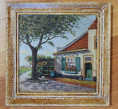 Framed Hand Painted Tile - Painting of European Rural House - Signed