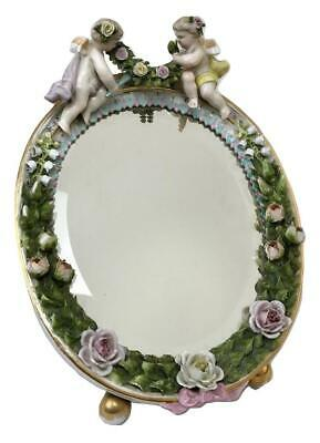 Antique Dresden Porcelain Cherub Angels Louis XVI Dressing Table Top Oval Mirror