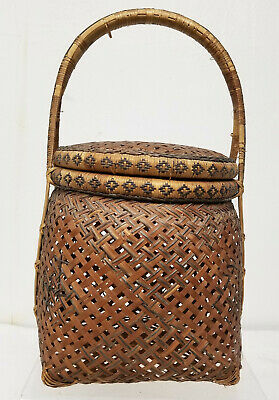 Antique Vintage Chinese Japanese Asian Ikebana Woven Flower Basket As Is