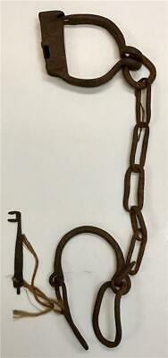 "Antique 19thC American Civil War Slave Prisoner 23"" Wrought Iron Shackles w/ Key"