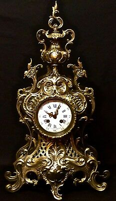 Rare Splendid Large Japy Freres French Antique Dark & Gilt Gold Bronze Clock