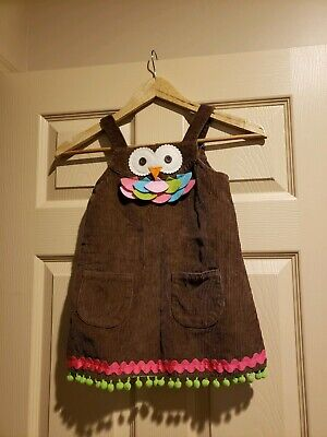 45fbab13f29 MUD PIE GIRLS Owl Jumper Romper Brown Corduroy Coverall Dress Size ...