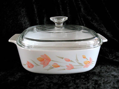 "CORNING WARE Peach Floral  2 Quart CASSEROLE DISH  8 1/4"" A-2-B With Lid"