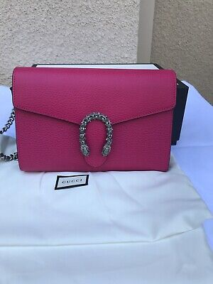 09aa24a9ff9 NWT AUTHENTIC GUCCI Dionysus Pink Leather Wallet On A Chain Marmont ...