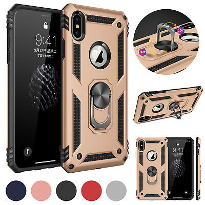 For iPhone XS Max XR X Magnetic Ring Holder Stand Bumper Armor Shell Case Cover