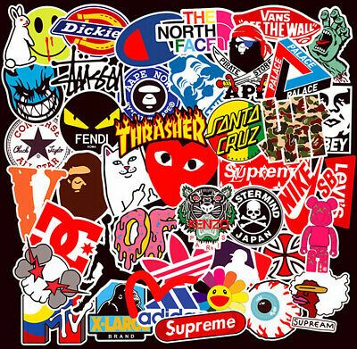101 mix vinyl stickers Rock Tide brand LOGO Motorcycle Pokemon Skateboard Decals