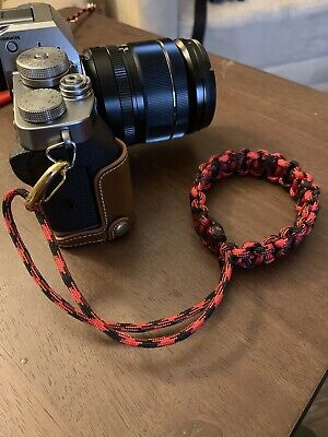 *HANDMADE* Red/Black Braided Paracord Adjustable Camera Wrist Strap Bracelet
