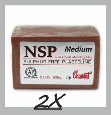 2 PACK Chavant NSP Medium - Non Sulfur Based Fine Sculpting Clay - BROWN
