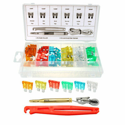 90Pcs Car Fuses Assortment Kit ,(5A-30A), with Fuse Puller & DC6-24V Tester