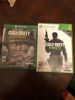 Call of Duty: WWII (Microsoft Xbox One, 2017)with Call Of Duty MW3 Xbox360