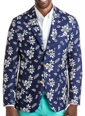 Vineyard Vines Floral Luxury Blend Sportcoat Men Size 40R NEW $295.00 Blue