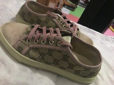 e1721ae439d GUCCI Women s Authentic Used 2014 Pink GG Monogram Sneakers US Size 7.5