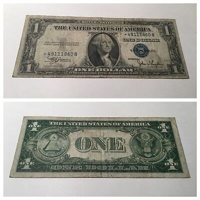 Vintage Star 1935-C $1 Silver Certificate One Dollar Note Washington Blue Seal