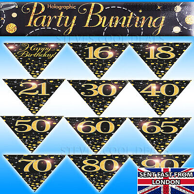 Birthday Bunting Flags Black Gold Fizz Banner Age 16 18 21 30 40 50 60 70 80 90