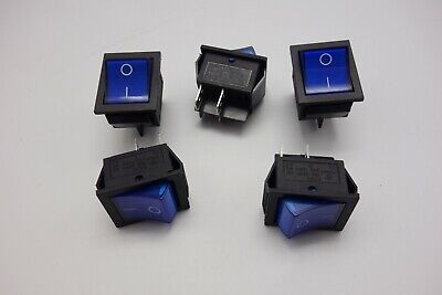 5Pcs Blue 220V Light Illuminated 2 Position ON/OFF Boat Rocker Switch 4 Pin