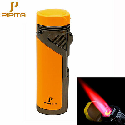 COHIBA Windproof Cigar Lighter 4 Torch Metal Gas Cigarette Butane Lighter Punch