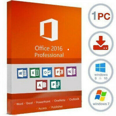 Microsoft Office 2016 Professional Plus 32/64 Bit🔐Product License Key🔐INSTANT