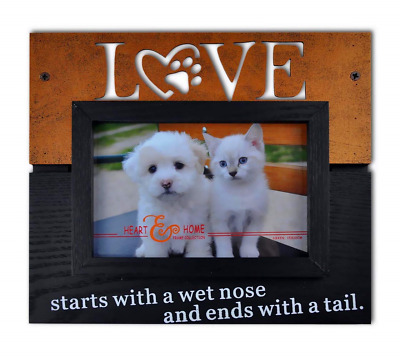 Spiretro 4 x 6 inch Memorial Pet Dog and Cat Wood Picture Frame with Easel & or