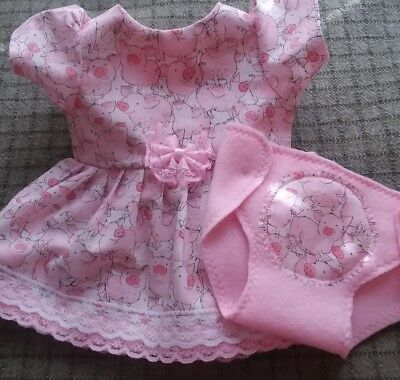 """Fits 14"""" 15"""" Bitty Baby Twin doll clothes PIGS PIGLETS dress diaper 2 pc set"""