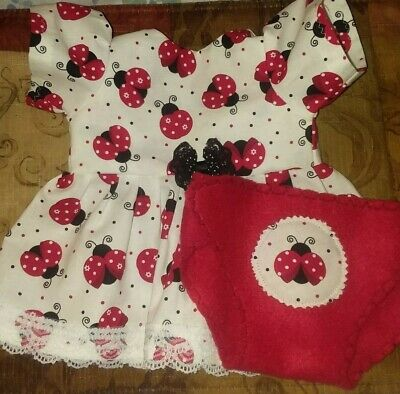"""Fits 14"""" 15"""" Bitty Baby Twin doll clothes LADY BUGS dress diaper 2 pc set"""